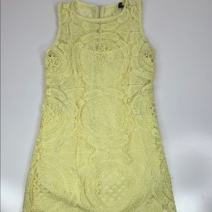 Forever 21 Crochet Sheath Dress Yellow Lined Small